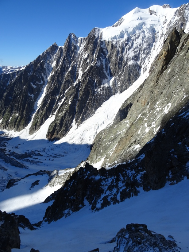 The vertical drop of Aiguille de Trelatete
